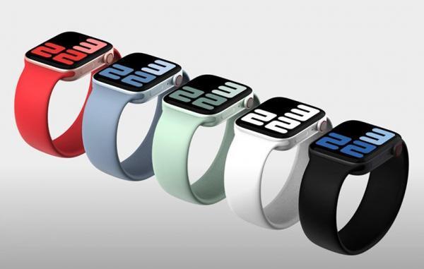 رندر اپل واچ سری 7 طراحی تازه با لبه های تخت این ساعت را نشان می دهد